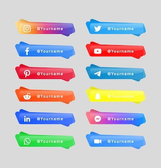 Raccolta di banner di icone di social media di pulsanti di loghi di rete