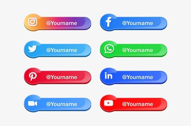 Banner di icone di social media con loghi 3d in moderne piattaforme di rete popolari con pulsanti