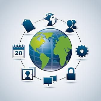 Icone social media su sfondo blu illustrazione vettoriale