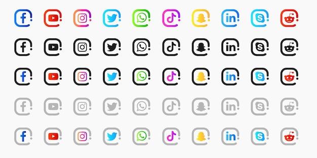 Raccolta di icone dei social media