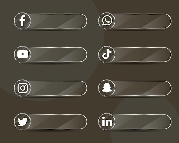 Pacchetto di raccolta di etichette in vetro per icone di social media