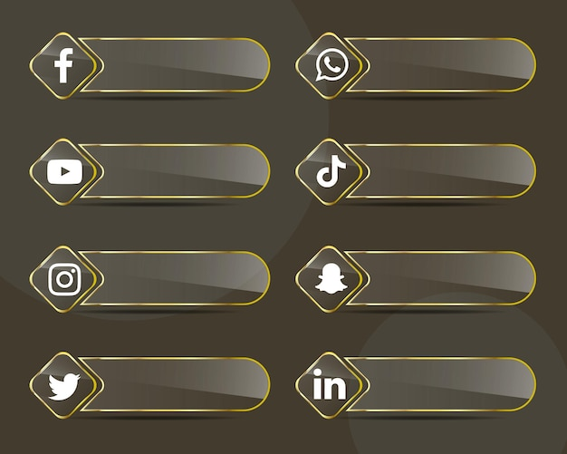 Pacchetto di raccolta di etichette di vetro dorato icone social media