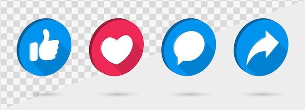 Icone dei social media come simboli di condivisione di commenti d'amore