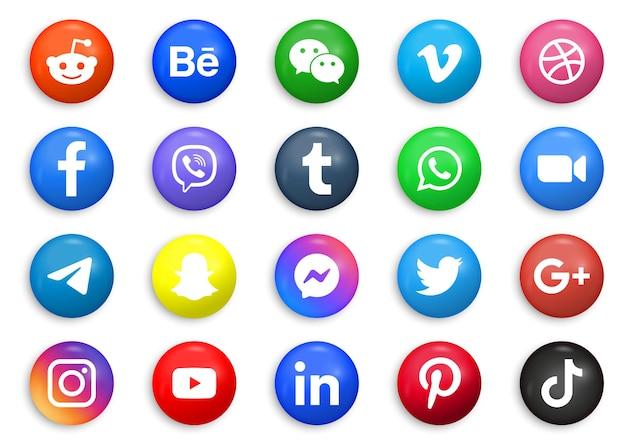 Loghi di icone di social media in 3d tondo cerchio o pulsanti moderni