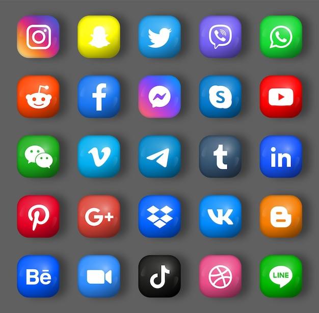 Loghi delle icone dei social media in 3d rotondi quadrati o pulsanti moderni
