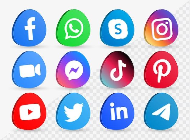 Raccolta di loghi di icone di social media in 3d icona di facebook instagram youtube per piattaforme di rete