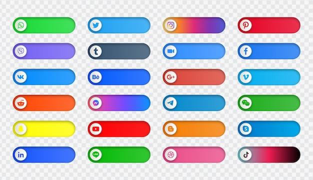 Loghi delle icone dei social media o banner della piattaforma di rete nel pulsante di commutazione
