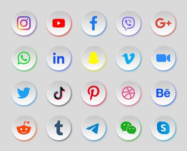 Icone dei social media in pulsanti moderni rotondi