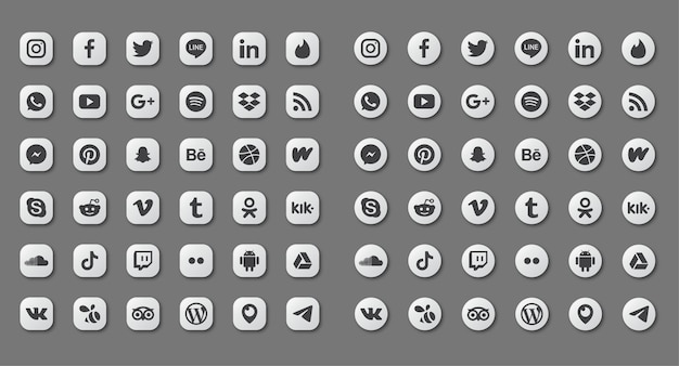 Set di icone di social media isolato