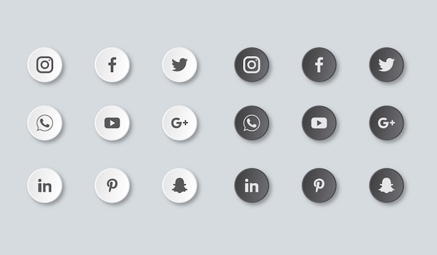 Icone social media impostate isolate