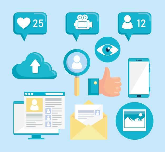 Set di icone dei social media