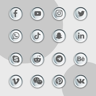 Pacchetto di raccolta di latta di icone dei social media