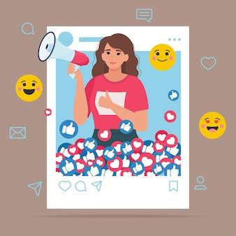 Influencer sui social media. giovane donna nella cornice del profilo sociale e icone emoji. illustrazione in stile piatto.