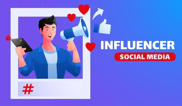 Illustrazione di influencer dei social media con la promozione dei social media del megafono della holding dell'uomo