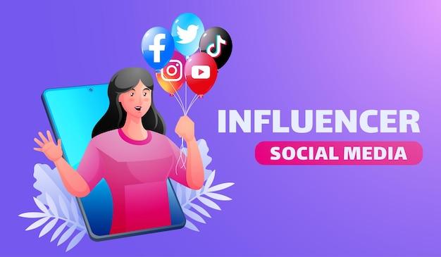 Illustrazione di influencer di social media con donna che tiene palloncino con logo di social media