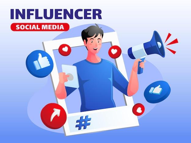 Influencer dei social media uomo con megafono promozione sui social media