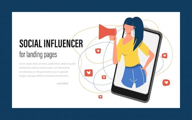Influencer sui social media. comunicazione sociale di tendenza web.