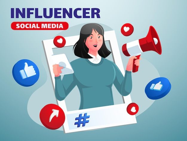 Influencer dei social media donna con megafono promozione sui social media