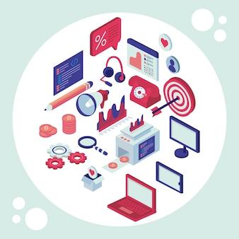 Icone stabilite isometriche di media sociali nell'illustrazione del cerchio