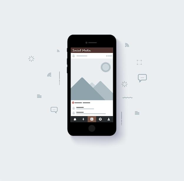 Layout popup di layout di social media con tono di colore blu Vettore Premium