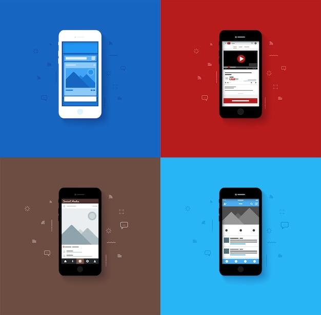 Layout popup di layout di social media con tono di colore blu