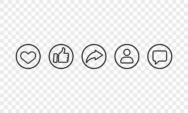 Icona della linea di social media impostata in nero. mi piace, condividi, follower, segno di chat. vettore eps 10. isolato su sfondo trasparente.