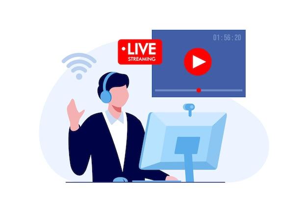 Concetto di streaming live dei social media. banner di illustrazione vettoriale piatto e pagina di destinazione