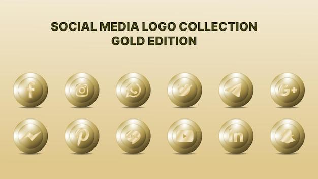 Collezione di logo sui social media. illustrazione vettoriale. colore oro.