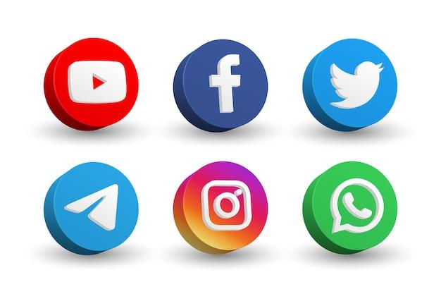 Collezione di icone di social media logo isolato su bianco