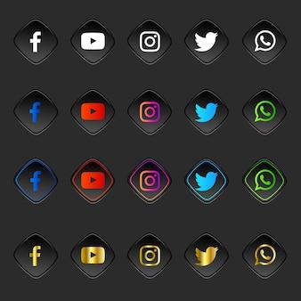 Pacchetto raccolta 3d di loghi e icone dei social media