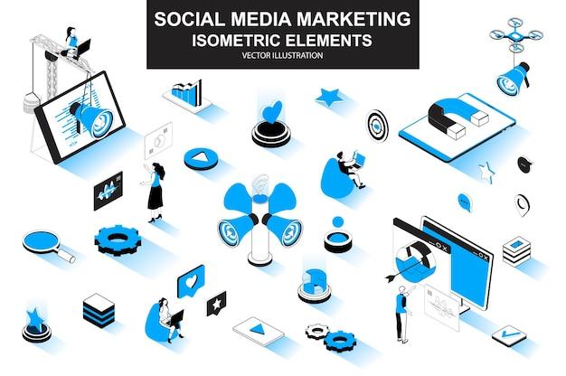 Elementi di linea isometrica 3d di social media marketing
