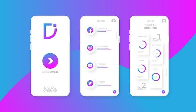 Progettazione dell'interfaccia dell'app di social media marketing Vettore Premium