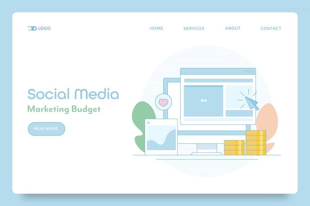 Insegna concettuale del budget di social media marketing