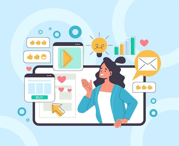 Social media marketing concetto di pubblicità aziendale.