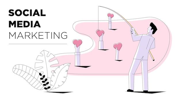 Social media marketing imprenditore pesca come segno cuore stile moderno business tecnologia internet