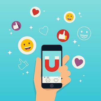 Concetto di social media marketing
