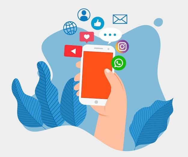 Concetto di social media marketing.