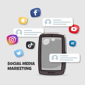 Concetto di marketing sui social media