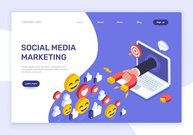 La mano del marketing sui social media con il magnete attira il vettore di promozione pubblicitaria della rete di follower di like