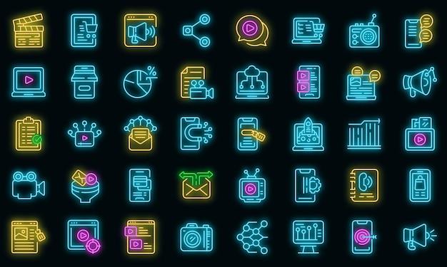 Le icone di marketing dei social media hanno impostato il vettore neon