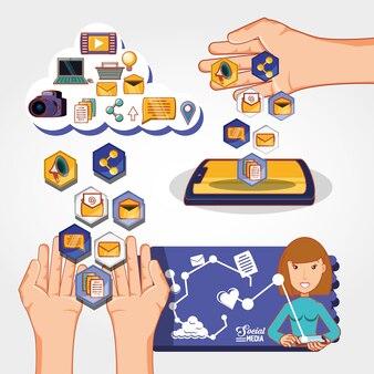 Progettazione dell'illustrazione di vettore delle icone di vendita di media sociali