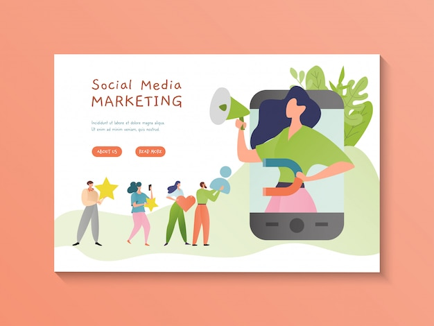 Illustrazione di social media marketing. contenuti multimediali video online. concetto di marketing digitale. personaggio dei cartoni animati di donna