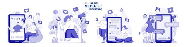 Set isolato di social media marketing in design piatto le persone sviluppano una strategia di promozione