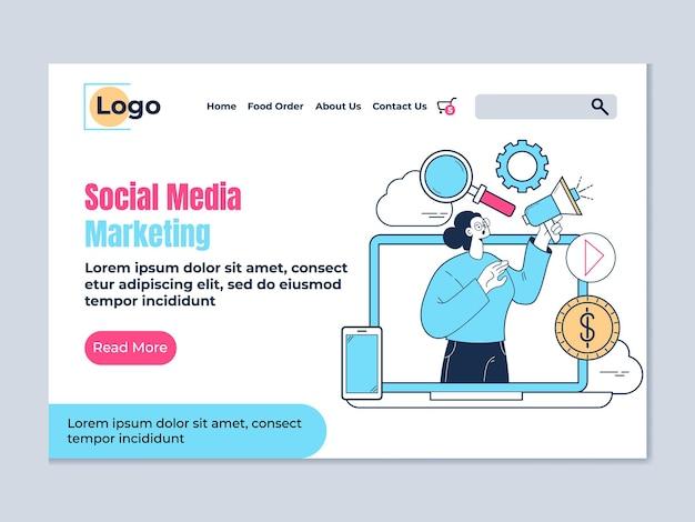 Modello di elemento di design della pagina di destinazione del marketing sui social media