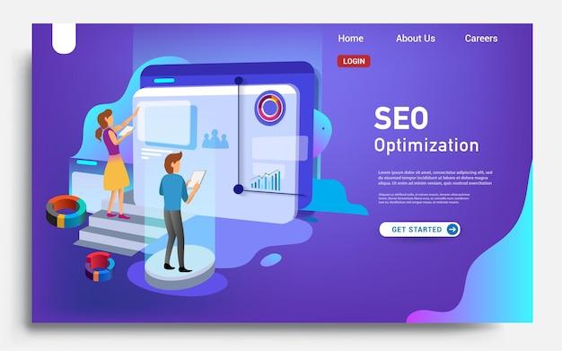 Modello di pagina di destinazione del social media marketing concetto di design piatto moderno del design della pagina web