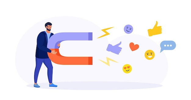 Social media marketing. uomo con un grande magnete che attira icone di contenuti di social media, mi piace, follower, messaggi di chat. ricerca e attrazione del target di riferimento, nuovi iscritti promozione sui social network
