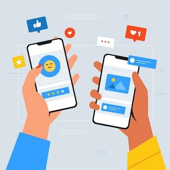 Concetto sociale del telefono cellulare di vendita di media con la gente che tiene gli smartphone