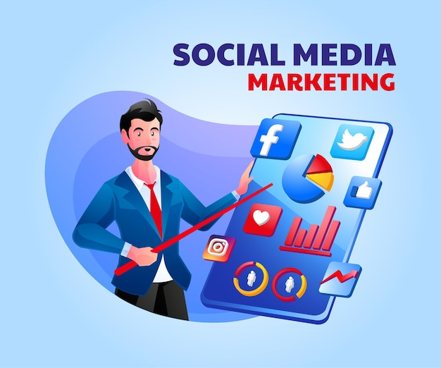 Concetto di analisi della strategia di marketing dei social media