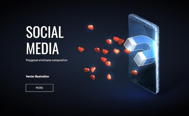 Modello di banner di strategia di marketing dei social media