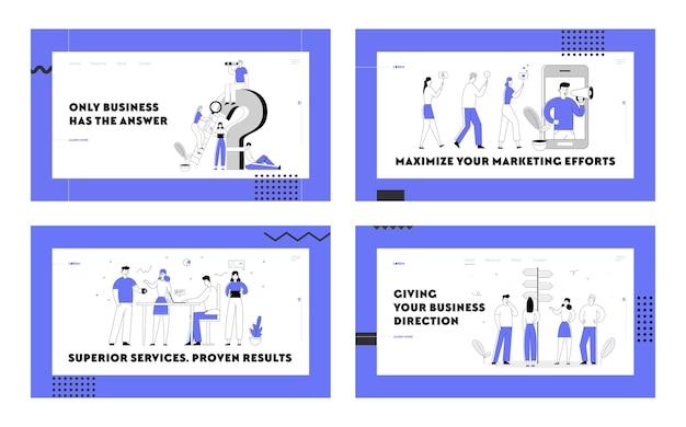Social media marketing, gruppo creativo di lavoro di squadra, set di pagine di destinazione del sito web per la ricerca di informazioni.